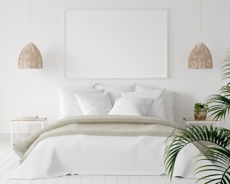 Marco en dormitorio, estilo escandinavo del cartel de la maqueta imagen de archivo libre de regalías