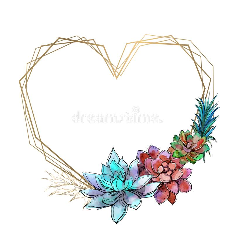 Marco en forma de corazón con los succulents brillantes Illustratiun del vector stock de ilustración