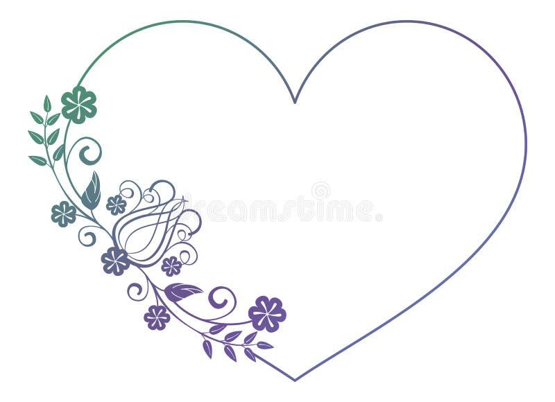 Marco en forma de corazón hermoso de la flor con el terraplén de la pendiente stock de ilustración