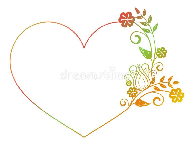 Marco en forma de corazón hermoso de la flor con el terraplén de la pendiente libre illustration