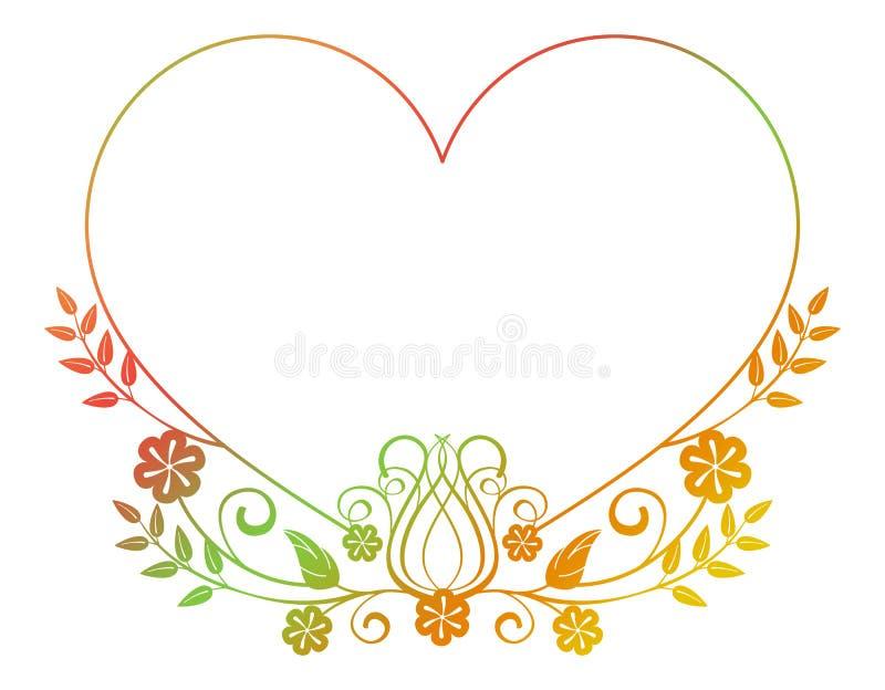 Marco en forma de corazón hermoso de la flor con el terraplén de la pendiente Marco de la silueta del color stock de ilustración