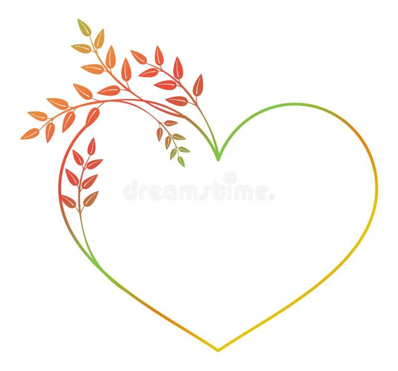 Marco en forma de corazón hermoso de la flor con el terraplén de la pendiente Marco de la silueta del color libre illustration