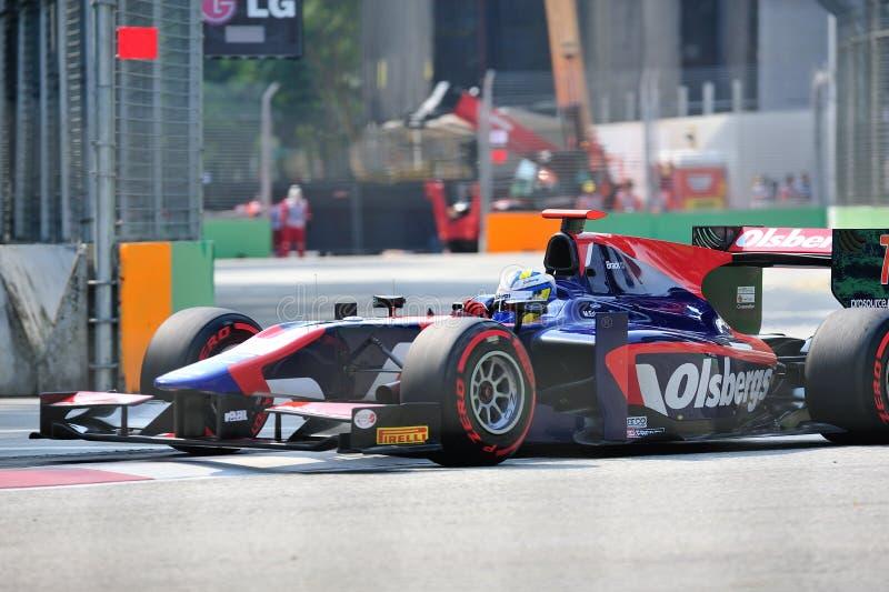 Marco Ericsson que compite con en GP 2012 de Singapur fotos de archivo