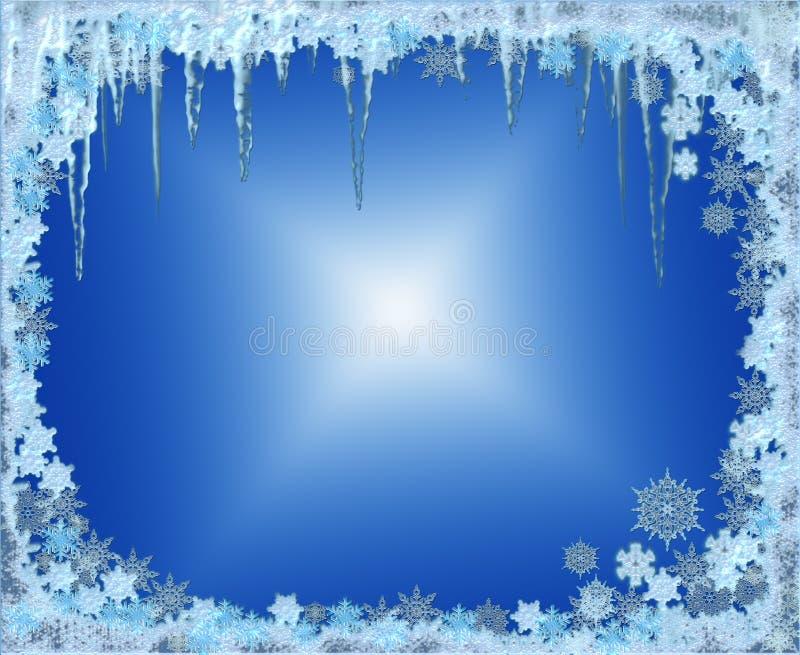 Marco escarchado de la Navidad con los copos de nieve y los carámbanos ilustración del vector