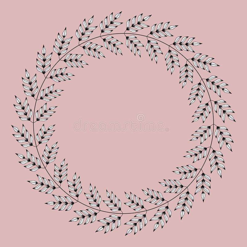 Marco exótico circular con las ramas tropicales blancos y negros stock de ilustración