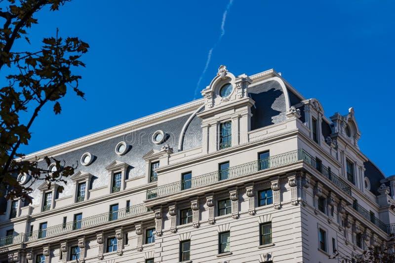Marco exterior Monum da arquitetura da C.C. de Willard Hotel Washington foto de stock royalty free