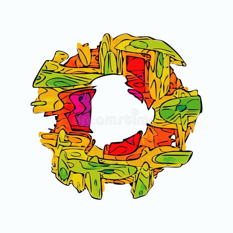 Marco extranjero del vector del estilo del círculo colorido abstracto stock de ilustración