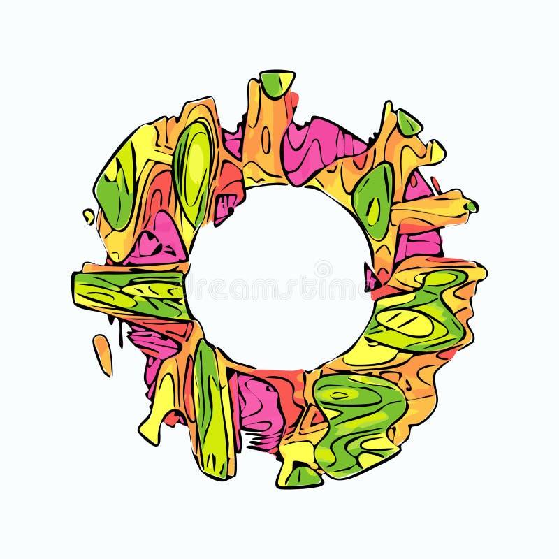 Marco extranjero del vector del estilo del círculo colorido abstracto libre illustration