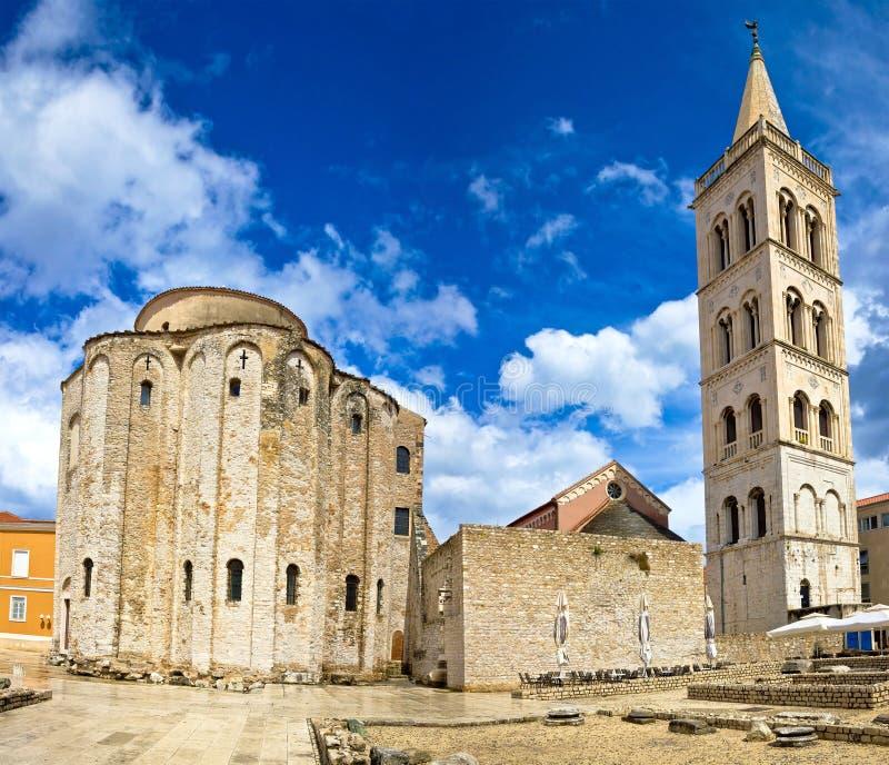 Marco famoso da catedral de Zadar da Croácia fotos de stock royalty free
