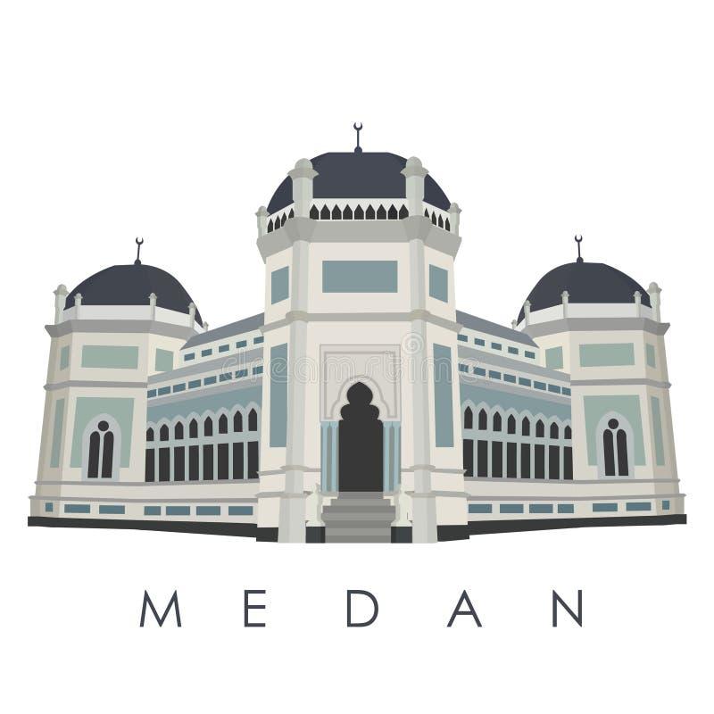 Marco famoso da cidade de Medan de Indonésia ilustração royalty free