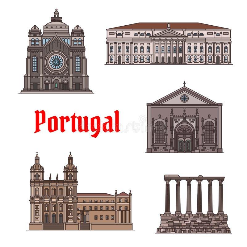 Marco famoso do curso do grupo do ícone de Portugal ilustração stock
