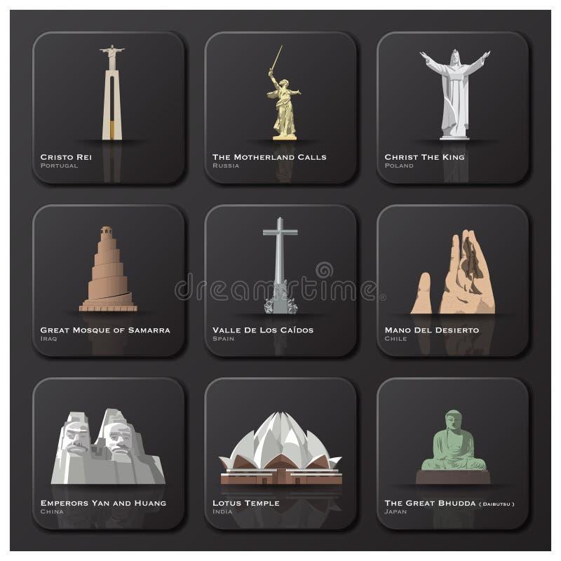 Marco famoso do grupo do ícone do mundo ilustração stock