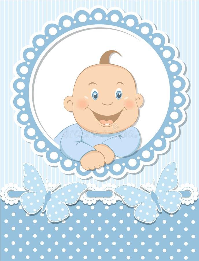 Marco feliz del azul del libro de recuerdos del bebé stock de ilustración