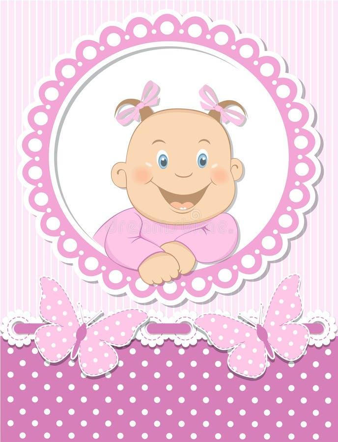 Marco feliz del color de rosa del libro de recuerdos del bebé stock de ilustración