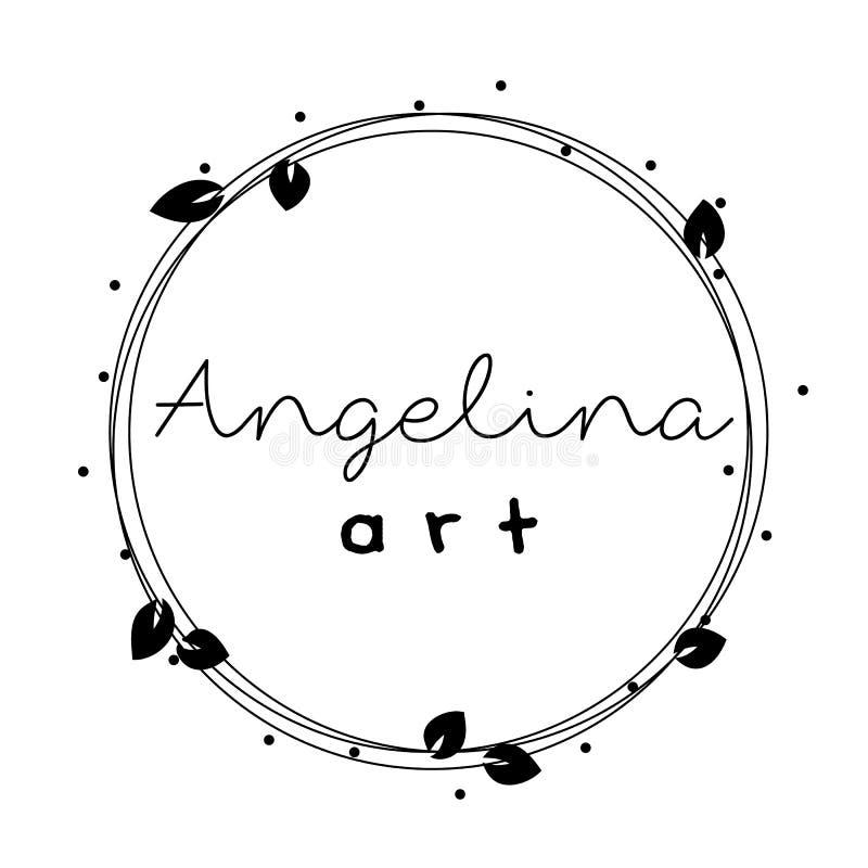 Marco femenino del logotipo, guirnalda con las hojas, redondas stock de ilustración
