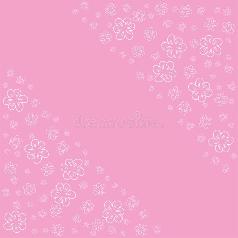 Marco Floral Abstracto En Un Fondo Rosado Para Las