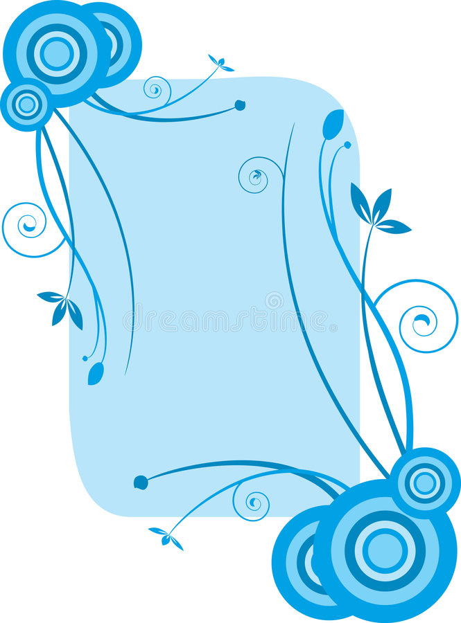 Marco floral azul stock de ilustración