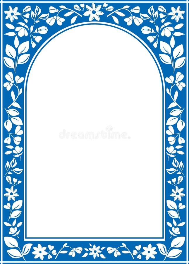 Marco Floral Azul Del Arco Con El Centro Blanco Ilustración del ...