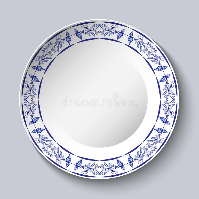 Marco floral azul redondo Diseñando los elementos basados en la pintura china o rusa de la porcelana Ornamento mostrado en un pla ilustración del vector