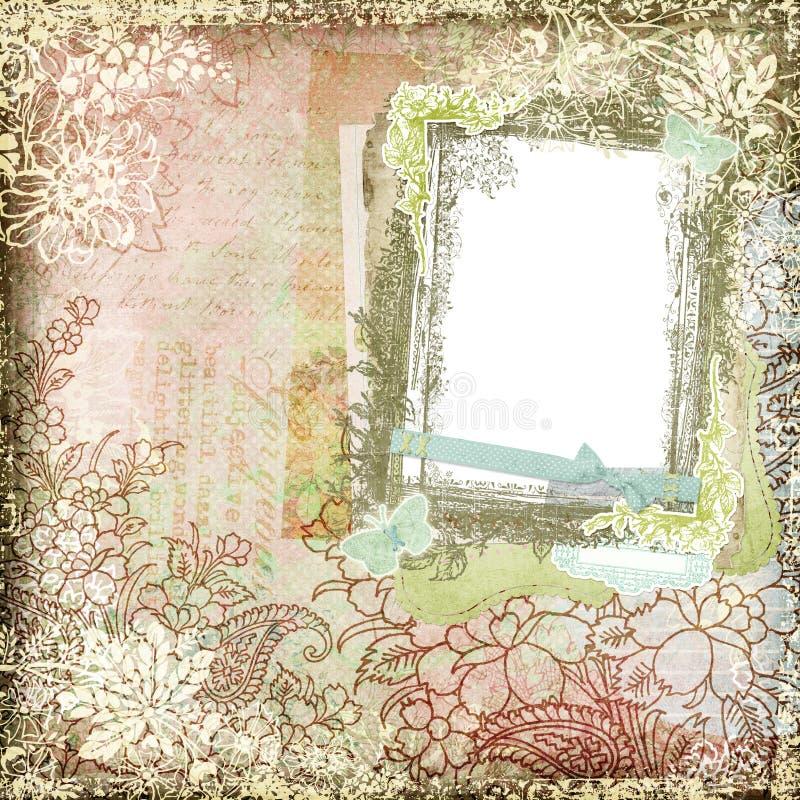 Marco floral botánico 3 del fondo del estilo del vintage ilustración del vector