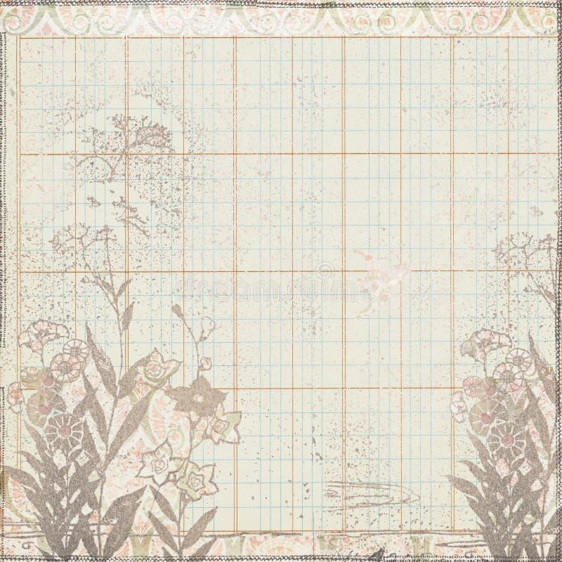 Marco floral botánico de la vendimia en el papel de libro mayor libre illustration