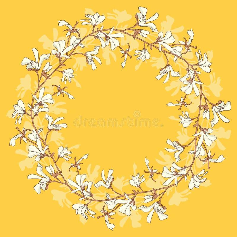 Marco floral con el flor del árbol de la magnolia Fondo amarillo con la flor de la rama y de la magnolia Diseño de la guirnalda d ilustración del vector