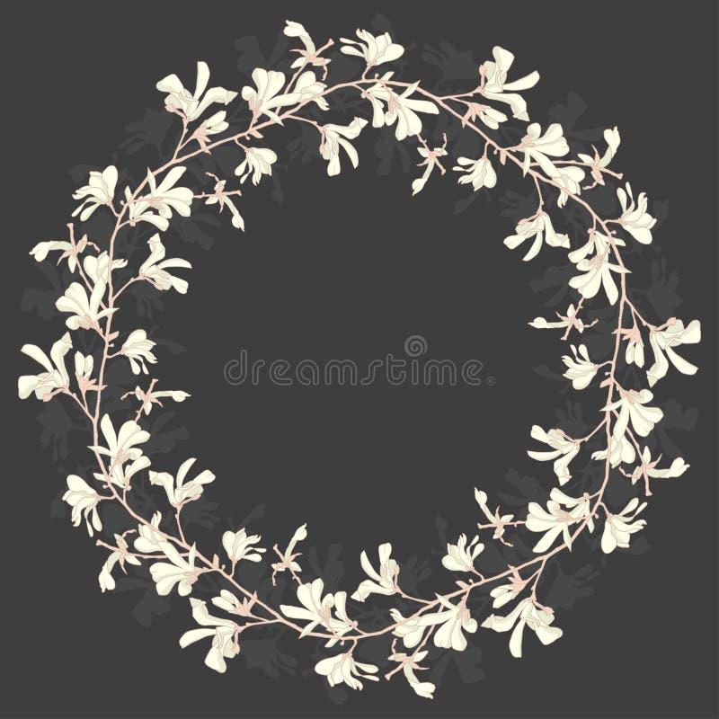 Marco floral con el flor del ?rbol de la magnolia en blanco y negro Fondo oscuro con la flor de la rama y de la magnolia Primaver stock de ilustración