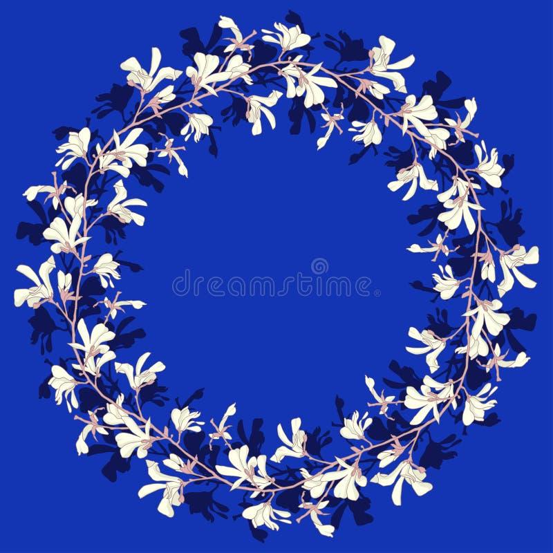 Marco floral con el flor del ?rbol de la magnolia Fondo azul con la flor de la rama y de la magnolia Dise?o de la guirnalda de la stock de ilustración