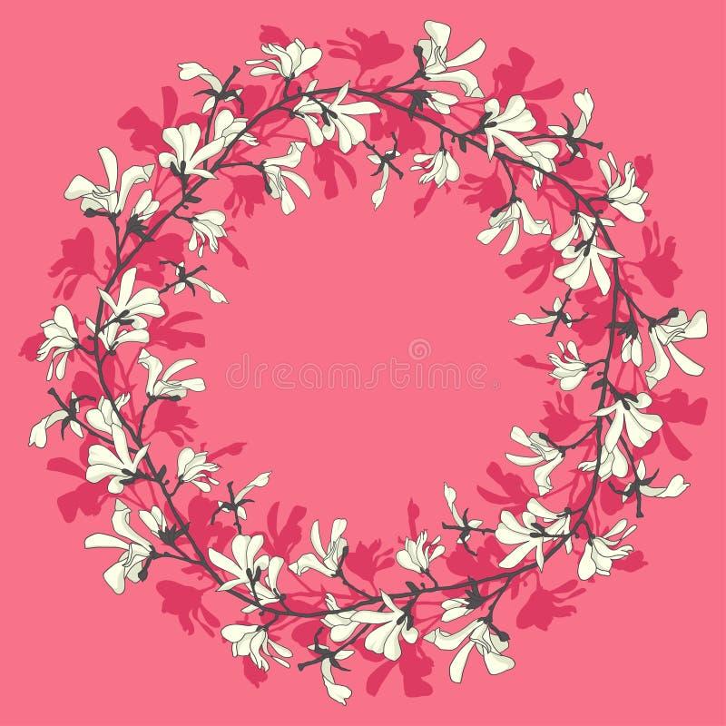 Marco floral con el flor del ?rbol de la magnolia Fondo rosado con la flor de la rama y de la magnolia Dise?o de la guirnalda de  stock de ilustración