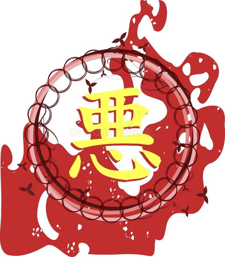 Marco floral con el ideograma del malo stock de ilustración