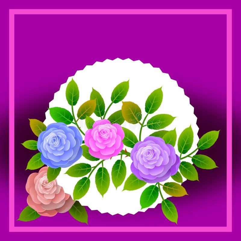 Marco floral con el ramo de rosas Ideal para integrar un mensaje o un esmero personalizado alusivo a los diversos acontecimientos libre illustration