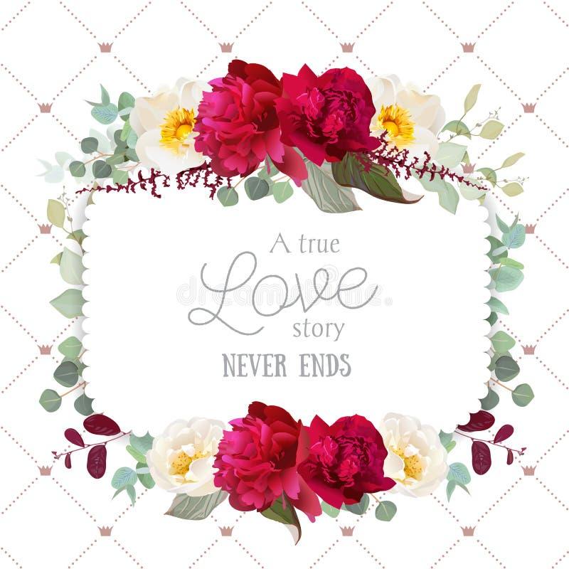Marco floral cuadrado del vector con la peonía, la rosa salvaje, el eucaliptus de la menta y las hojas rojas de Borgoña en blanco stock de ilustración