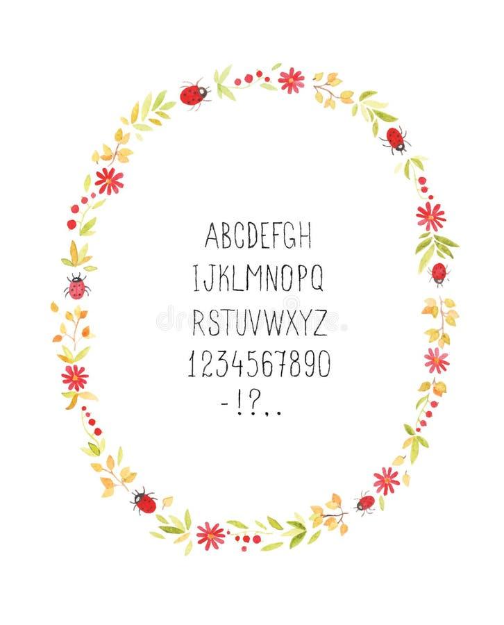 Marco floral de la acuarela con alfabeto Vector foto de archivo libre de regalías