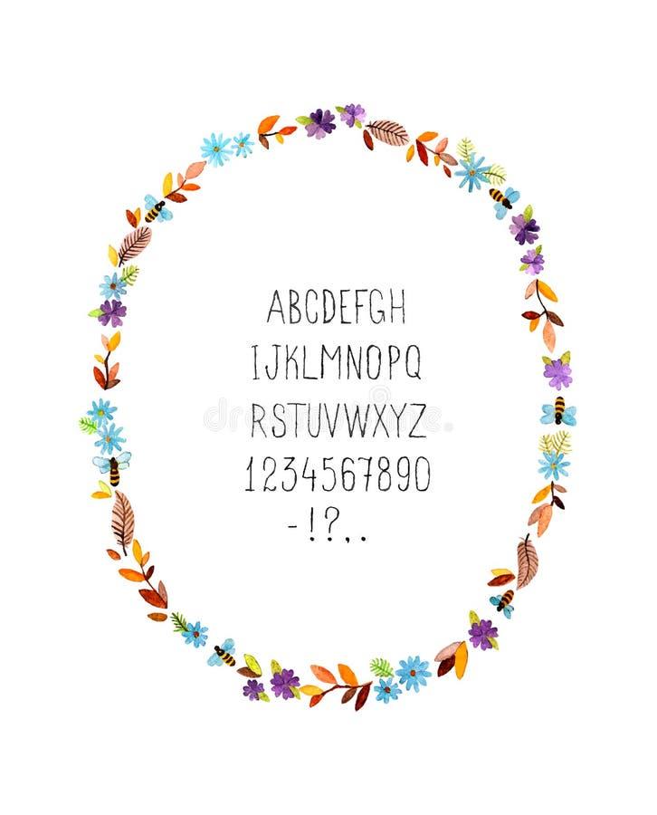 Marco floral de la acuarela con alfabeto Vector fotos de archivo