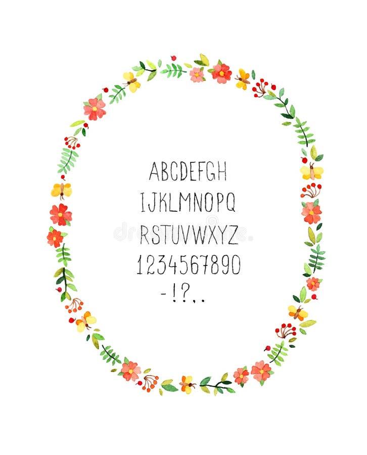 Marco floral de la acuarela con alfabeto Vector imagenes de archivo
