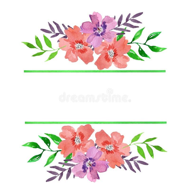 Marco floral de la acuarela con las Líneas Verdes y los ramos stock de ilustración
