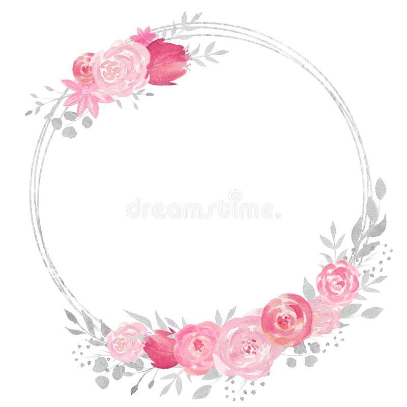 Marco floral de la acuarela con la rosa, las hojas, las flores y las ramas ilustración del vector