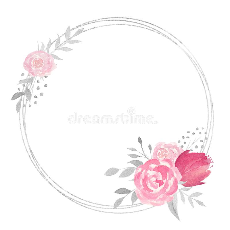 Marco floral de la acuarela con la rosa, las hojas, las flores y las ramas libre illustration