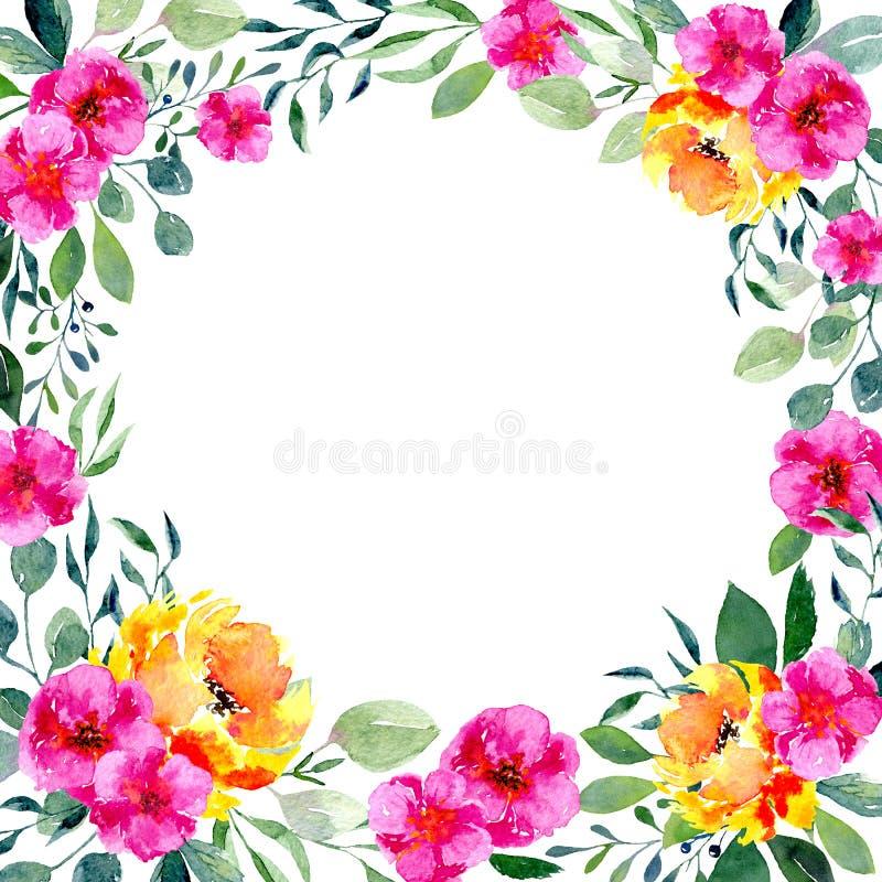 Marco floral de la acuarela Fondo con follaje fresco de la primavera, las flores brillantes y el lugar para el texto stock de ilustración