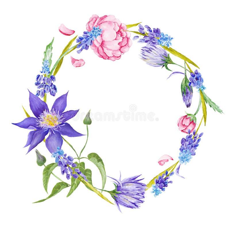 Marco floral de la acuarela romántica libre illustration
