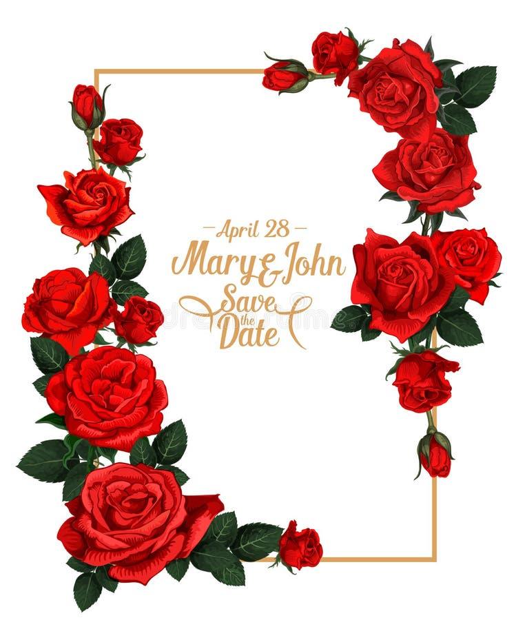 Marco floral de la boda del vector stock de ilustración