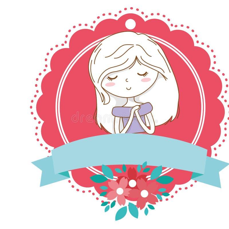 Marco floral de la floraci?n de la muchacha de la historieta del equipo del retrato elegante lindo del vestido stock de ilustración