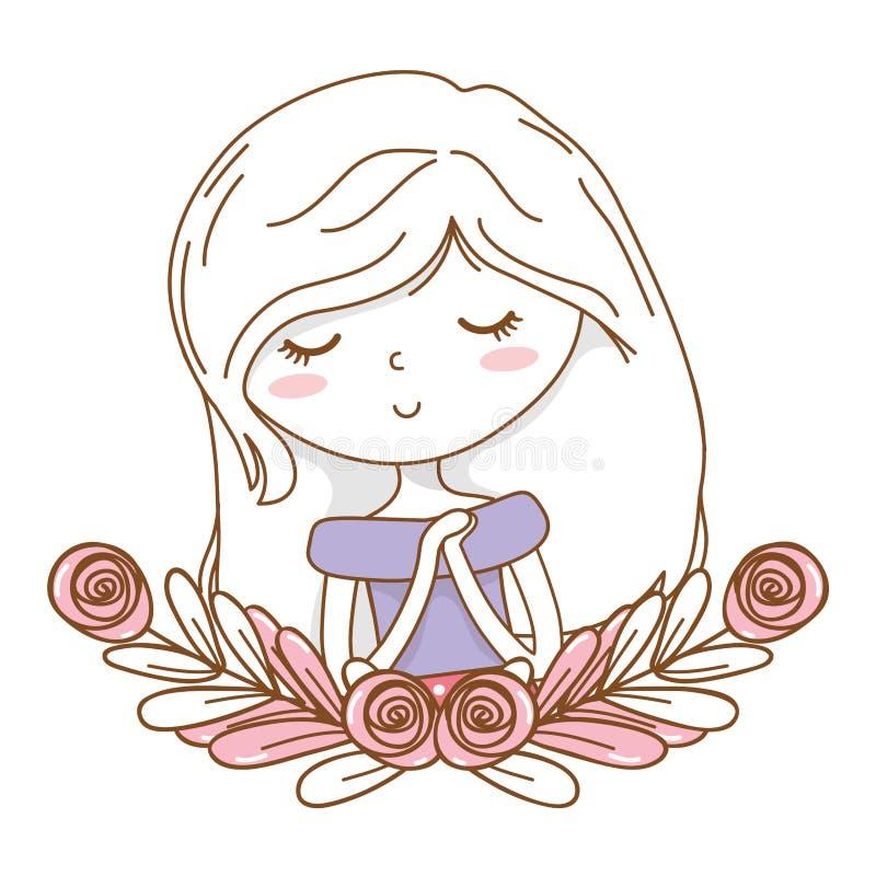 Marco floral de la guirnalda de la muchacha de la historieta del equipo del retrato elegante lindo del vestido stock de ilustración