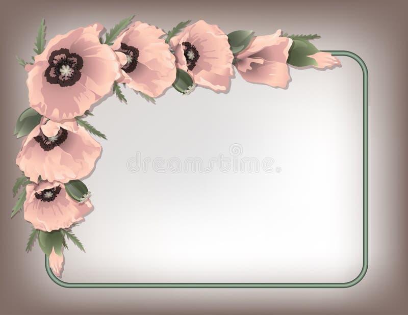 Marco floral de las amapolas rosadas, vector stock de ilustración