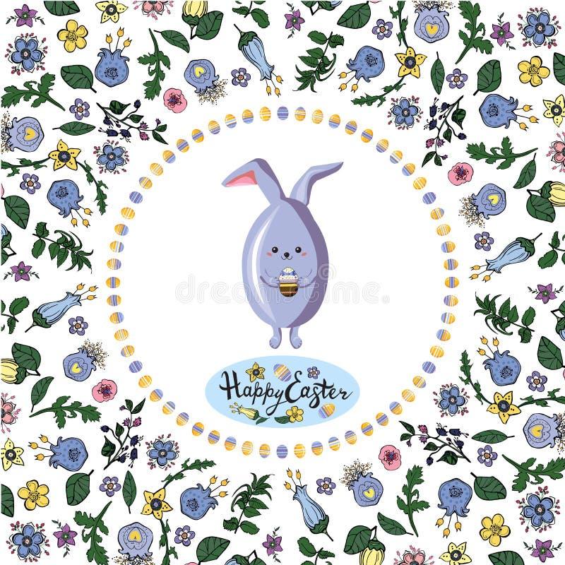 Marco floral del cuadrado con el conejo, los huevos y las letras saludando al tablero en el fondo transparente ilustración del vector
