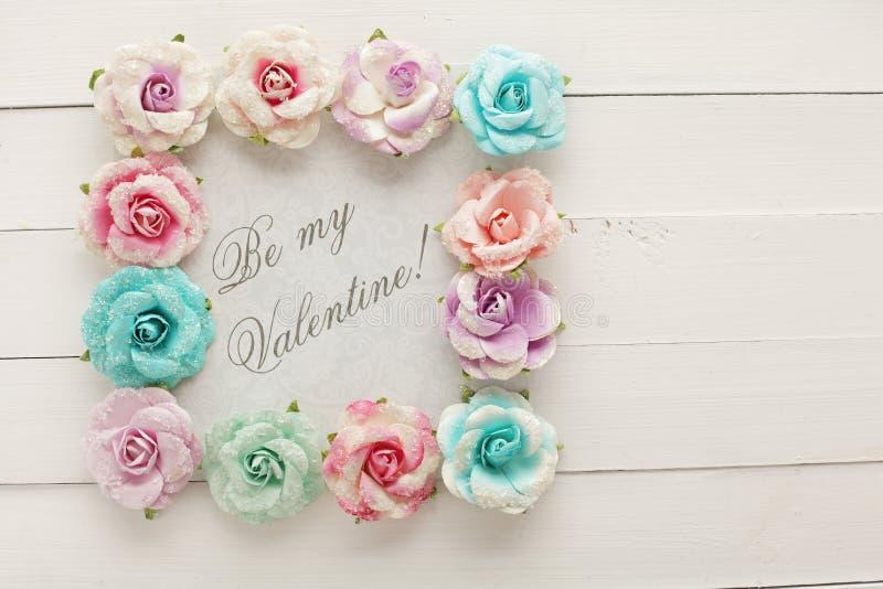 Marco floral del día de tarjetas del día de San Valentín fotografía de archivo