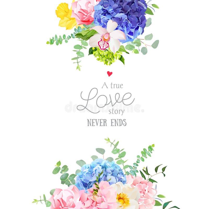 Marco floral del diseño del vector de la boda delicada ilustración del vector