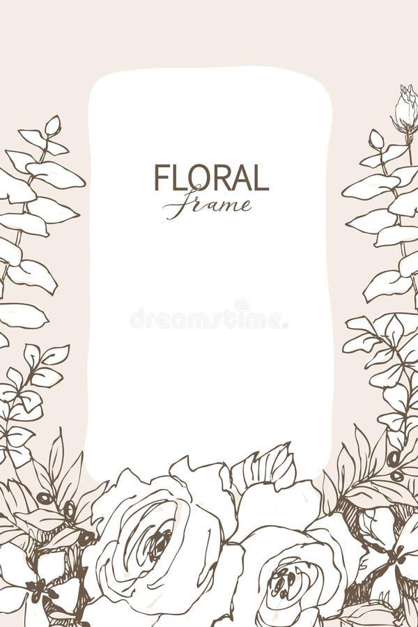 Marco floral del diseño del vector Rosas lineares, eucalipto, bayas, silueta blanca del witn de las hojas Invitación de boda en r libre illustration
