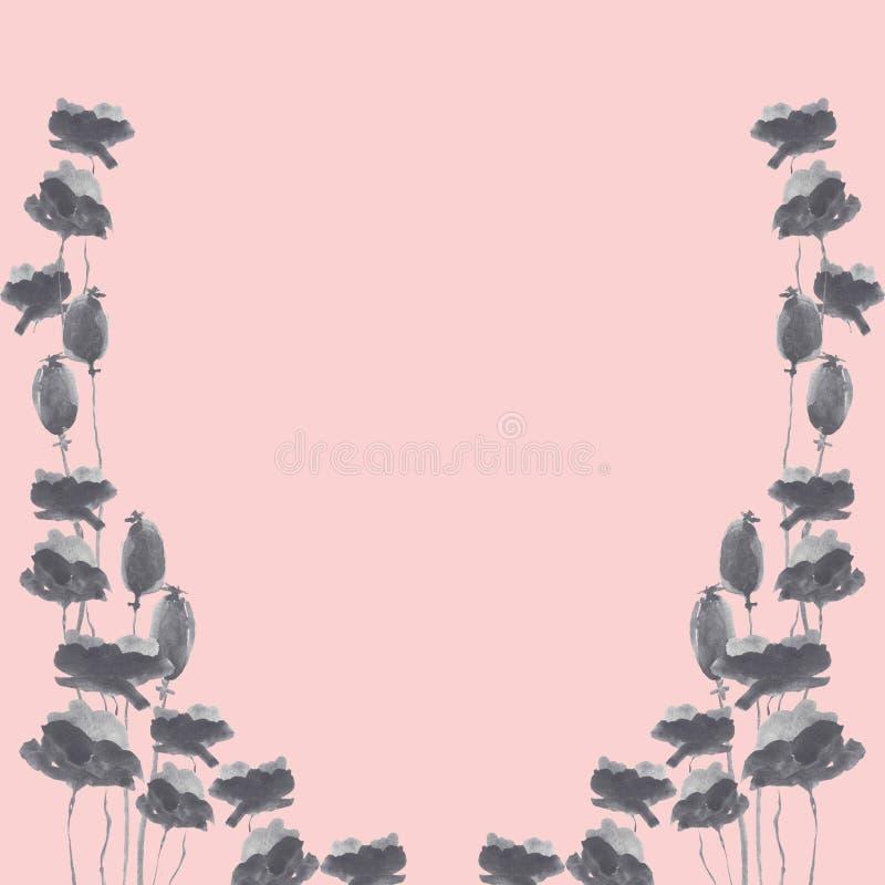 Marco floral del grafito de la acuarela ilustración del vector
