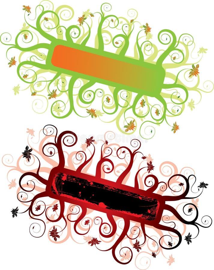 Marco floral del grunge abstracto, elementos para el diseño, vector ilustración del vector